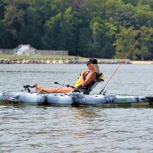 fishing from an inflatable kayak